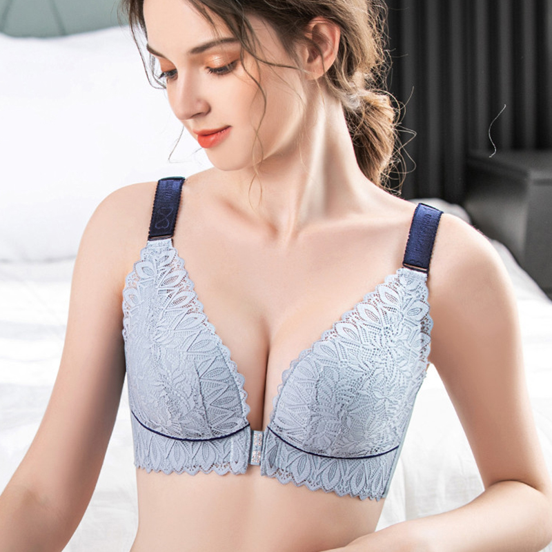 Plus Size Bra for Women Front Closure Underwear Sexy Lace Bralette Large Cup Bras Lingerie Push Up Brassiere Female Intimates #F