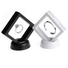Transparent Jewelry Display Box Ring Suspended Floating Holder Case Jewellery Coins Gems Jewelery Stand Cases jewelry PV