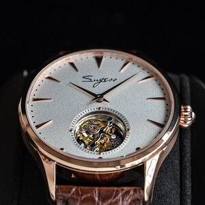 Image 3 - פשוט גברים אמיתי Tourbillon שעון אמיתי תנין עור עסקי רצועת Mens מכאני יד שעונים ST8000 יד רוח