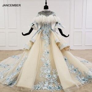 Image 1 - HTL1112 özel renkli lüks düğün elbisesi 2020 Cape tüy yarım kollu aplikler gelin kıyafeti
