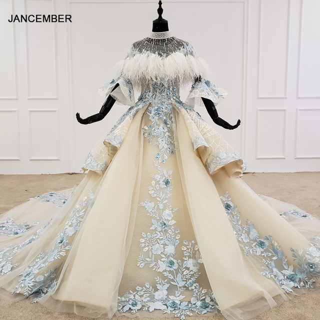 HTL1112 özel renkli lüks düğün elbisesi 2020 Cape tüy yarım kollu aplikler gelin kıyafeti