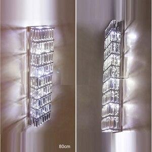 Image 5 - Applique da parete lunga applique da parete moderna in cristallo applique da parete a LED in cristallo soggiorno lampade da parete in cristallo lampade da camera da letto applique nordiche