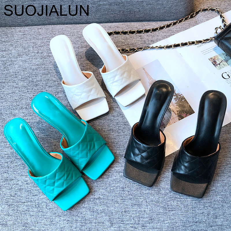 SUOJIALUN 2020 Summer New Women Slipper Fashion Brand High Heel Sandals Sexy Square Toe Slides Outdoor Beach Flip Flops Pumps