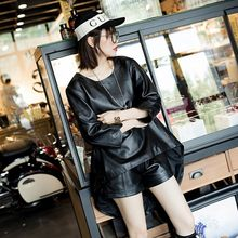 Top Brand Female Irregular Cape Sheepskin Genuine Leather Jacket Rock Single Breasted Pullover Women Loose Fit Motor Biker Tops(China)