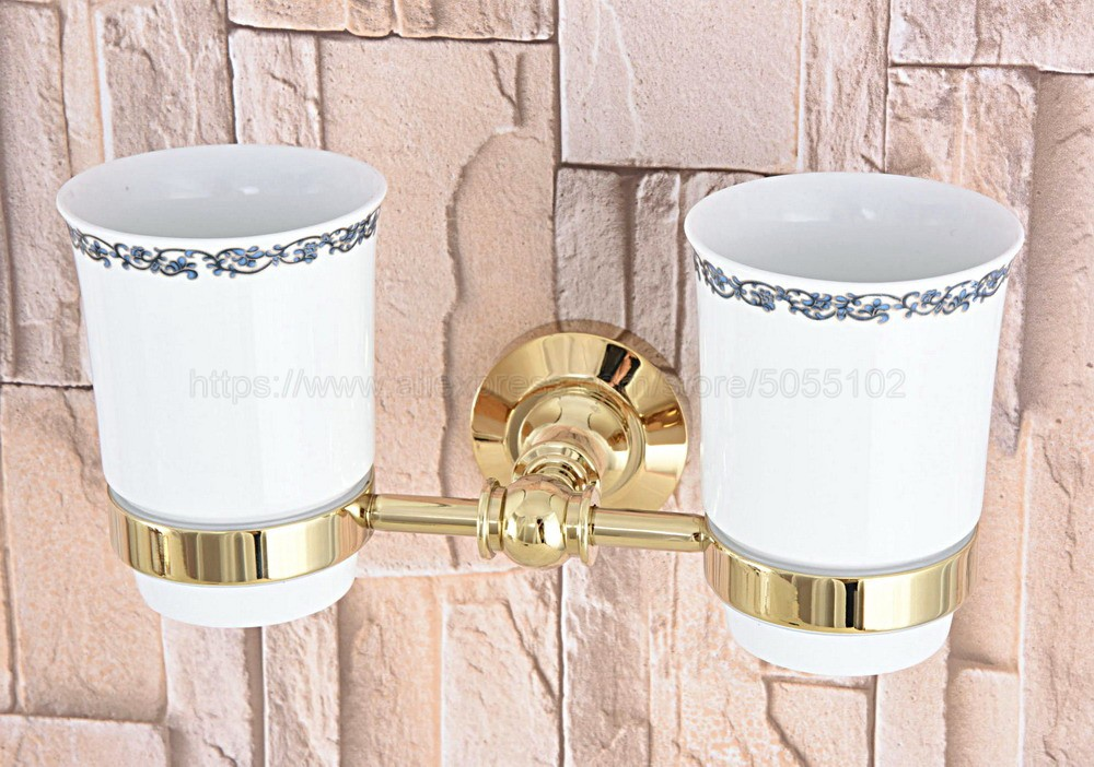 Golden Brass Wall Mounted Double Toothbrush Holders With 2 Creamic Cups Tooth Cup Holders For Bathroom Accessories zba316 image