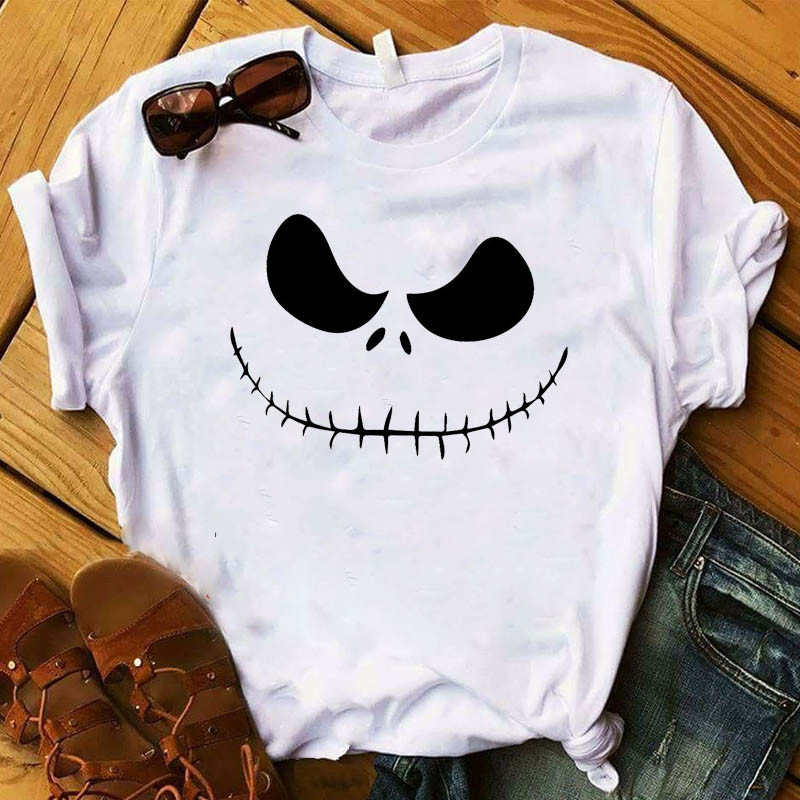 Just Scary Cute Short Sleeve Printed Happy Halloween Womens Tshirt Female Fashion Graphic Letters T-Shirts