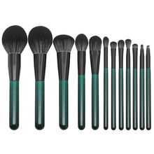 12pcs Dark Green Wooden Handle Makeup Brushes Set With Black And White Fiber hair powder paint 2019 Makeup Brush Set Tool 9.17(China)