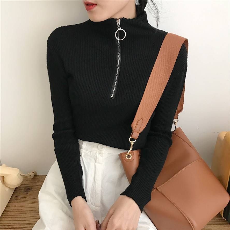 Turtleneck Women Sweater And Pullovers Fall Korean Fashion Autumn Spring Zipper Knitted Sweater Women High Elastic Solid Tops
