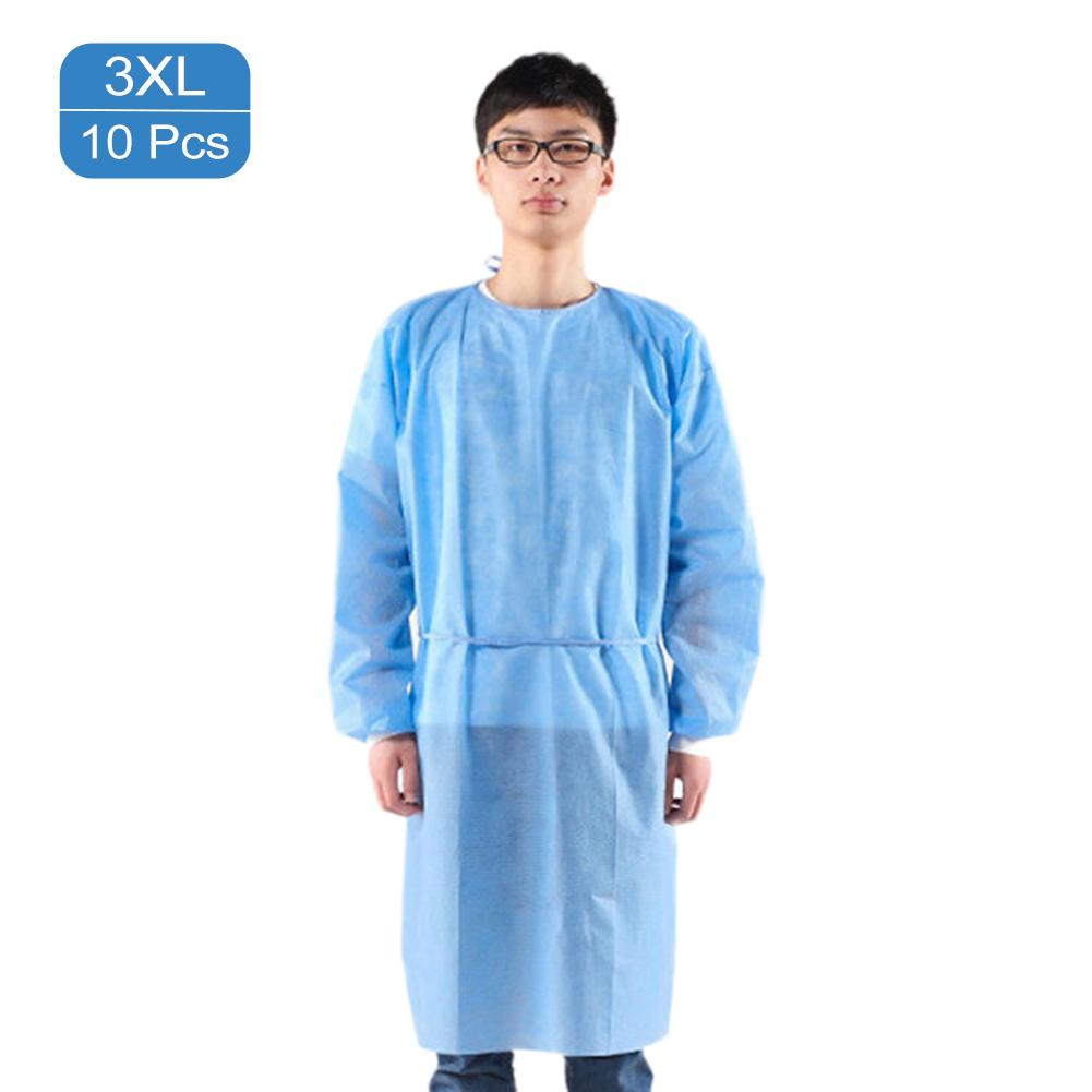 10Pcs/Set Disposable Protective Isolation Gown Indoor Outdoor Dustproof Coverall For Women Men Anti-fog Anti-particle