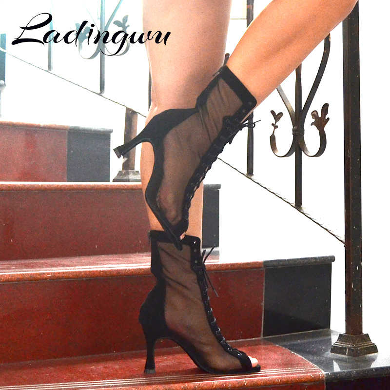Ladingwu Giày Khiêu Vũ Đen Bám Bẩn Áo Kiểu Nữ Cổ Vũ Điệu Latin Giày gót Kim Loại 8.5cm Phòng Khiêu Vũ Giày Khiêu Vũ Bữa Tiệc Salsa giày