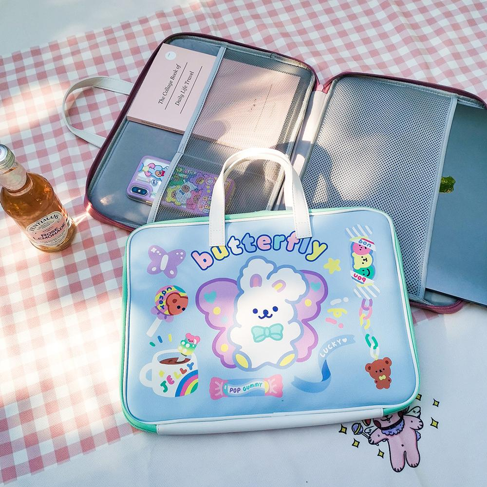 Cute Laptop Bag 11 12 12.9 13.3inch Mac Case Kawaii Korea Women Zipper Bags Travel Business Portable Document Bag Girls Handbag