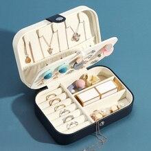 Casegrace المحمولة السفر بو الجلود والمجوهرات صندوق تخزين منظم القرط قلادة حلقة علبة مجوهرات تغليف النعش