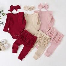 Одежда для маленьких девочек милый костюм принцессы с оборками, комбинезон, топ, однотонные штаны с оборками комплект осенней одежды с длин...