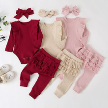 Baby Girl Clothes Cute Princess Ruffle Bodysuit Romper Top Solid Ruffle Pants Hedband Bebe Girl Long Sleeve Fall Outfits Set