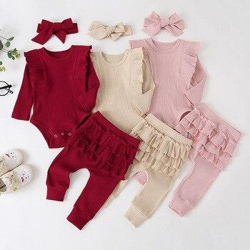 Ropa de bebé niña linda princesa Body de volante Romper Top sólido pantalones con volantes Hedband bebé niña manga larga otoño conjunto de trajes