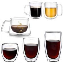 Taza de café de doble capa de vidrio de pared con aislamiento de leche taza de café con manija para bebidas frías calientes aislamiento térmico Oficina