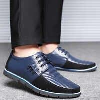 UPUPER ブランド本革メンズカジュアルシューズ高品質革靴の男性黒青フラットローファーモカシンビッグサイズ 37-48