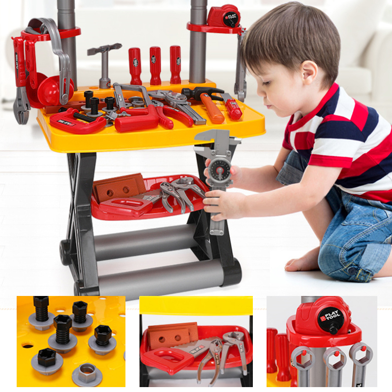Kids Toolbox Kit Educational Toys Simulation Repair Tools Toys Drill Plastic Game Engineering Pretend Play Toys Gifts For Boy