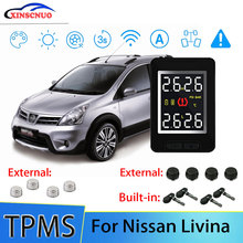 цена на Smart Car TPMS Tire Pressure Monitor System For Nissan Livina with 4 sensors Wireless Alarm Systems LCD Display TPMS Monitor