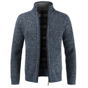 Мужская трикотажная верхняя одежда, приталенный плотный свитер, Повседневный Кардиган, теплый зимний свитер, джемпер