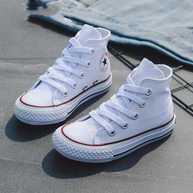 Детские высокие холщовые школьные туфли для девочек и мальчиков, модные кроссовки карамельных цветов, для прогулок и путешествий, весна-осе...