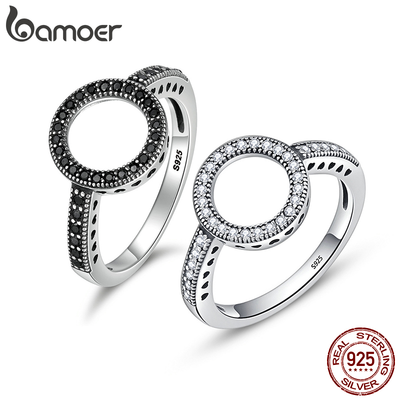 BAMOER 2 COLOR White And Black Circle And Round Finger Rings For Women Solid 925 Sterling Silver Wedding Jewelry GXR041