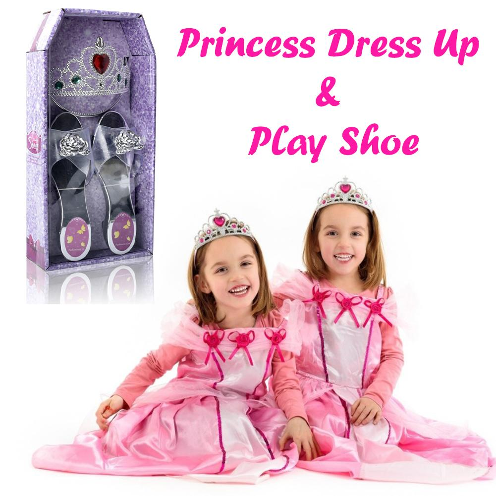 Girls Dress Up Toy Set Princess Crown Shoes Dressup Toys Pretend Play Makeup Toy Kit Children Role Play Costume Cosplay Props