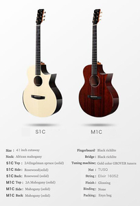 Image 2 - جيتار Enya مقاس 40 بوصة جيتار ماهوجني صلب مع لاقط جيتار إنجلمان شجرة التنوب سلسلة آلات موسيقية