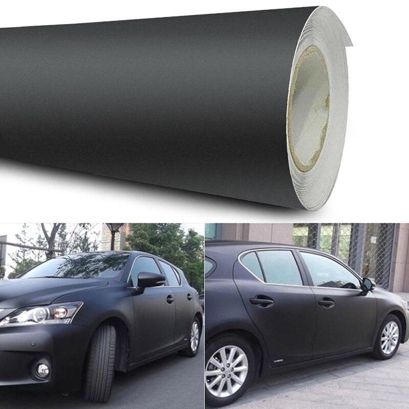 12x60 pulgadas Universal negro mate película de vinilo de coche pegatinas DIY etiqueta del vehículo 3D automóviles carrocería Exterior película de cambio Color