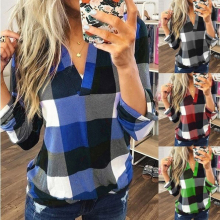 Business Blouse Shirts Plus-Size Women's Tops Blusas V-Neck long-Sleeve Sexy Autumn Office Lady