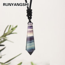 1pc Natural Rainbow Fluorite Crystal Pendant Nimble pendulum Striped fluorite polyhedron single point Necklace for woman gifts