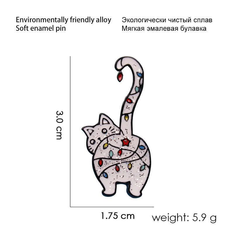 XEDZ kolor klejnot kot metalowa szpilka szary kot tyłek kot ogon projekt odznaka cartoon zwierząt broszka torba ubrania przypinka do klapy dzieci biżuteria
