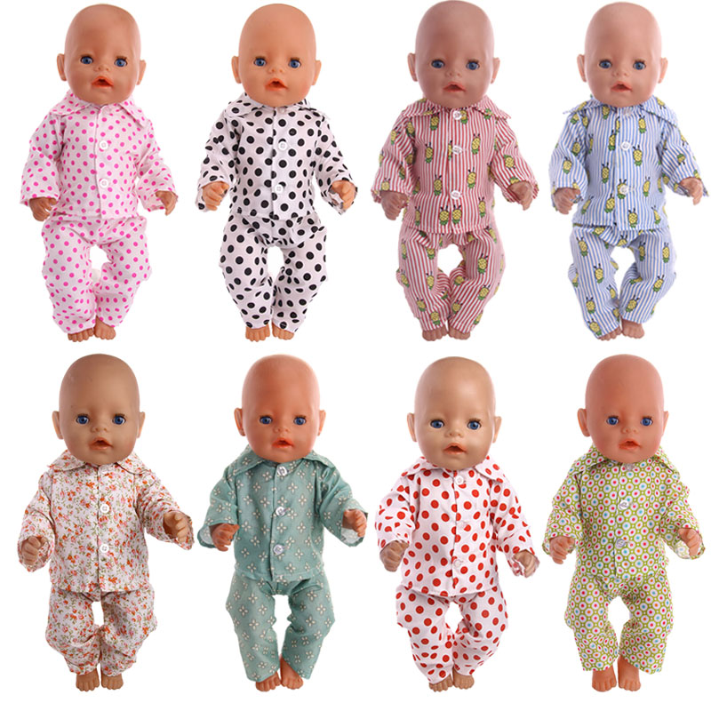 Doll 15 Styles Cartoon Cute Pajamas Fit 18 Inch American&43 Cm Baby Doll Clothes Accessories, Generation, Birthday Girl Toy Gift