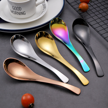 Stainless Steel Soup Spoon Gold Rainbow Deepen Thicken Large Capacity Small Creative Spoons