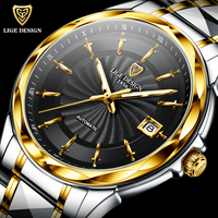 LIGE New High end luxury Mens Watches Automatic Mechanical Tungsten Steel Sapphire Glass 50M Waterproof Watch Relogio Masculino