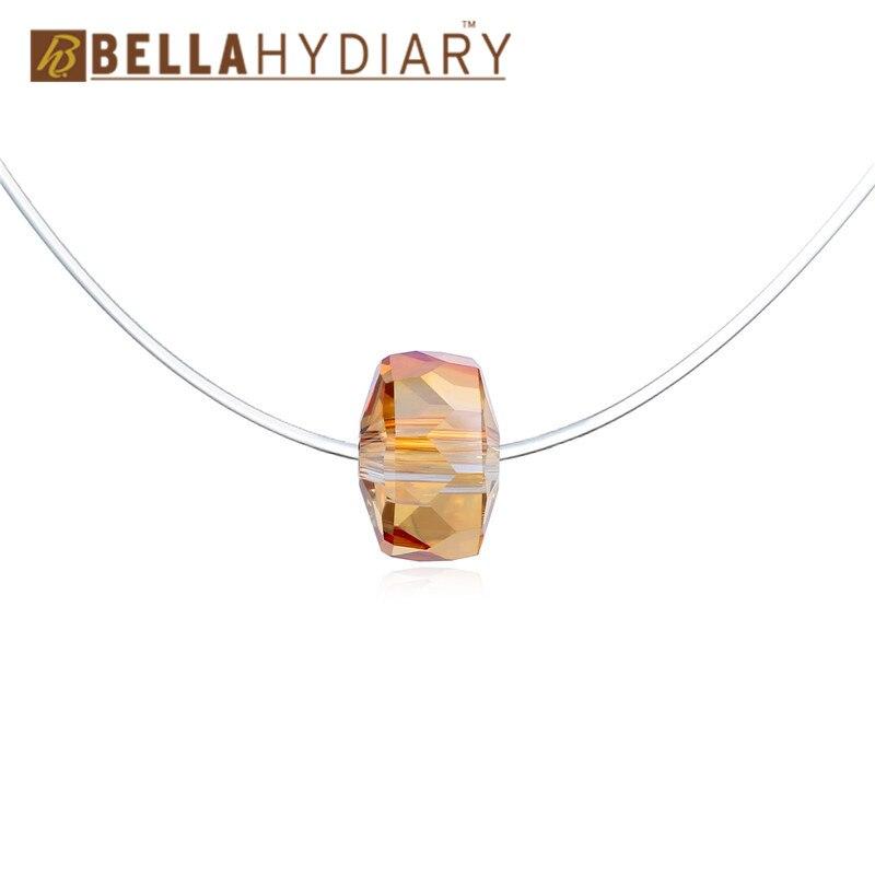 Bijoux Yellow Geometric Rhinestone Choker Necklaces Transparent Fishing Line Necklace Invisible Chain Necklaces Pendants Collier (4)
