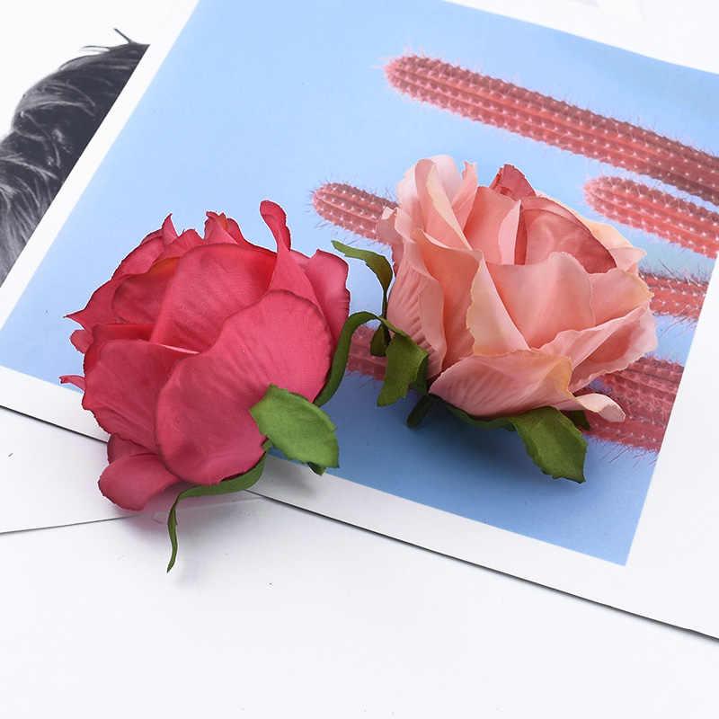 2/5/10 Buah Mawar Sutra Kepala Pernikahan Aksesoris Pengantin Clearance Natal Dekorasi Bunga Dinding Bunga Buatan dengan Harga Murah