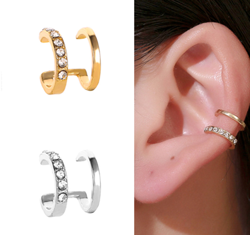 Clip-Earring Ear-Cuff Crystal Gold-Leaf Girls Without Piercing Jewerly Vintage Women