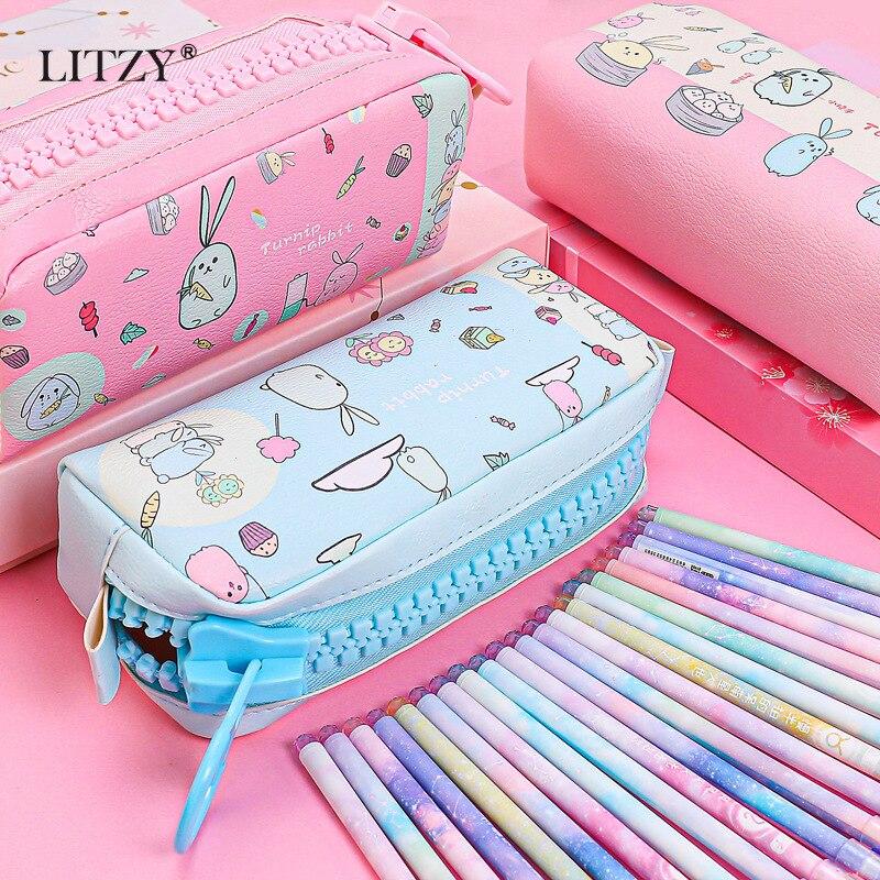 Big Zipper Pencil Case Kawaii Rabbit Panda PencilCases For Boy Girl Stationery Large Capacity PU Pencil Bag School Office Supply