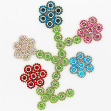 10pcs 14mm Flower Crystal Rhinestone Buttons DIY Jewelry Clothing Dress Hat Hearwear Crafts Supplies Diamond Sewing Centerpieces