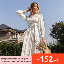 Women Dress Belt Puff-Sleeve Spring Flower-Printed Floral Maxi Simplee Vestidos Long