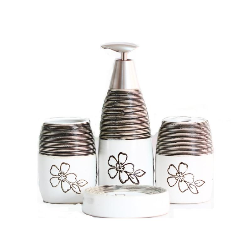 Bathroom Accessories Ceramic Hotel set Toiletries Electric Toothbrush Soap Dish vase Wedding Gift*4