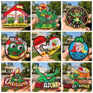 Oeteldonk Full Embroidered Cartoon Frog Carnival For Netherland Iron On Patches For Clothing Embroidered Badges Patches Stripe