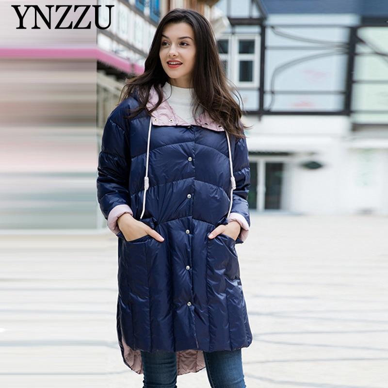 2019 Winter Women   Down   jacket with Hooded Elegant Loose irregular Female   coat   Patchwork Long sleeve Outwear Casual YNZZU 9O076