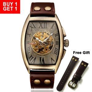 Image 1 - Shenhua  Vintage Automatic Watch Men Mechanical Wrist Watches Mens Fashion Skeleton Retro Bronze Watch Clock montre homme