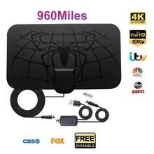 Antenne de télévision numérique HD amplifiée en intérieur, portée de 960 miles, 4K HD DVB-T, chaînes de diffusion gratuites, pour maison intelligente