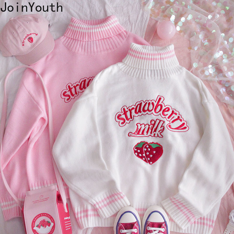 Joinyouth Turtleneck Sweater Sweet Embroidery Strawberry PKnitted Pullovers Ropa Mujer Wear Oversized Loose Jumper Pull Femme
