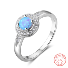 925 Sterling Silver Wedding Engagement Rings Round Blue Opal Ring for Women CZ Finger Rings Silver 925 Jewelry Birthday Gift