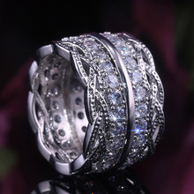 Huitan Trendy Wide Band Party Accessories Rings For Women With Micro Paved Shiny Brilliant Cubic Zircon Female