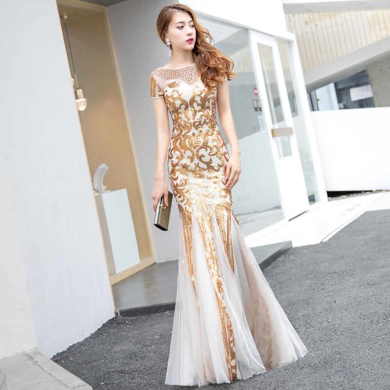 It's Yiiya Evening Dresses Long Gold Pattern Shiny Sequin Formal Dress Plus Size Mermaid Elegant Gown 2020 Robe De Soiree K159